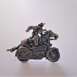 Vintage Biker Lapel Hat Pin, Pony Express